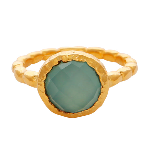 Aqua chalcedony gold textured ring