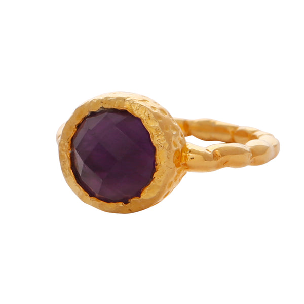 Amethyst gold textured ring