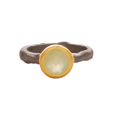 Chalcedony gold and silver mix ring