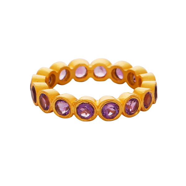 Amethyst gemstones band