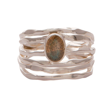 925 sterling silver nest ring with Labradorite