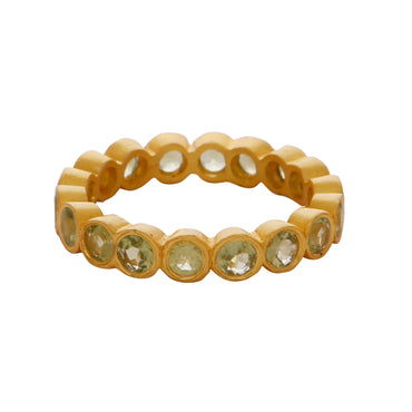 Gold vermeil peridot stones delicate band