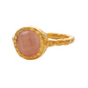 Rose quartz gold textured ring