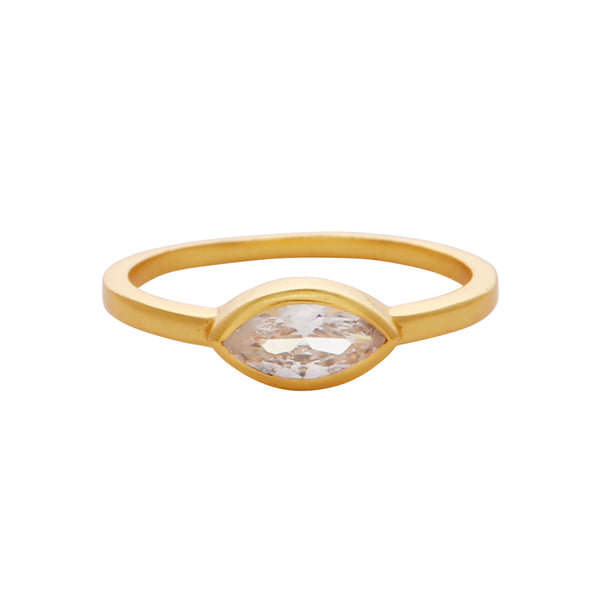 Crystal eye gold band