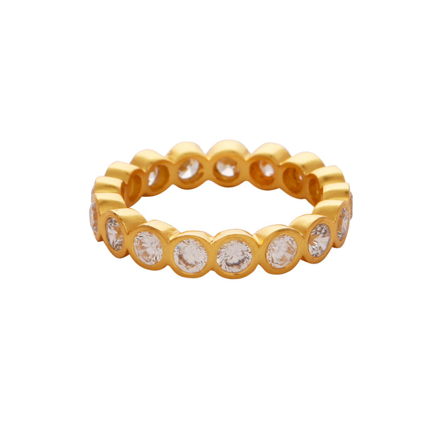 Crystal quartz gold gemstone band