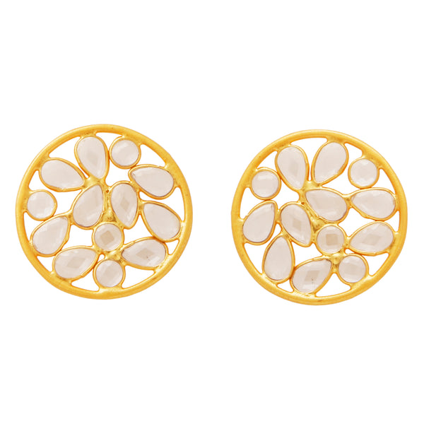 Sliced crystal stud earrings