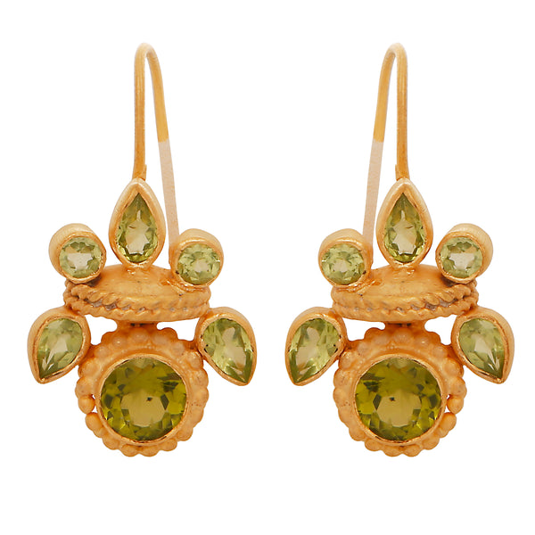 Intricate peridot heritage earrings