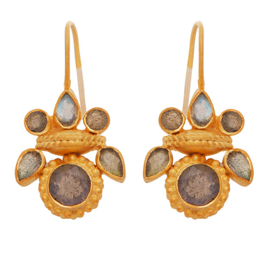 Intricate labradorite heritage gold earrings