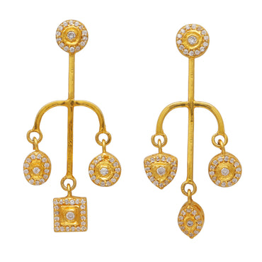 Gold spear mismatch earrings with crystals