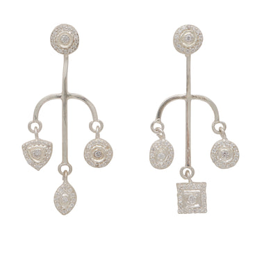 Silver spear mismatch earrings with crystals