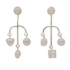 Silver and crystal quartz mismatch earrings