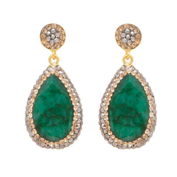 Emerald corundum long drop earrings
