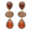 Carnelian and rough cut agate earrings