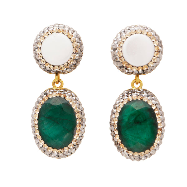Mother of pearl and emerald corundum drop earrings