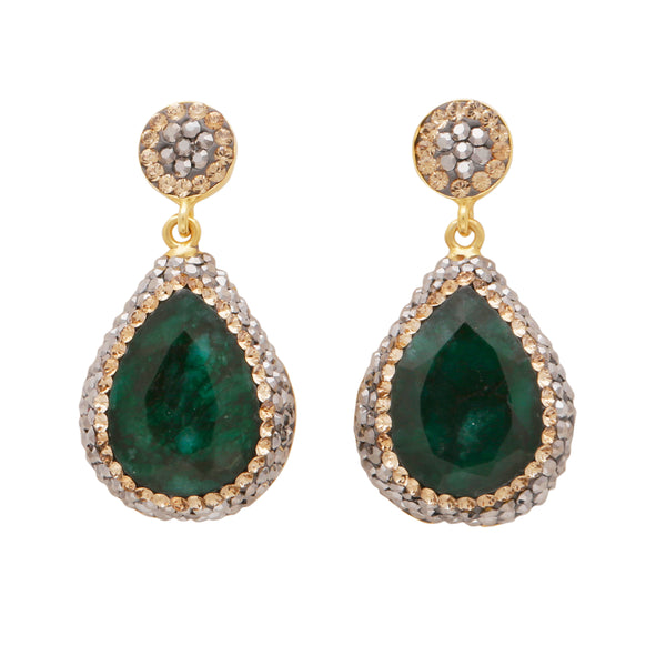 Emerald corundum drop earrings