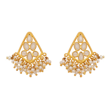 Delicate pearl and sliced crystal gold earrings