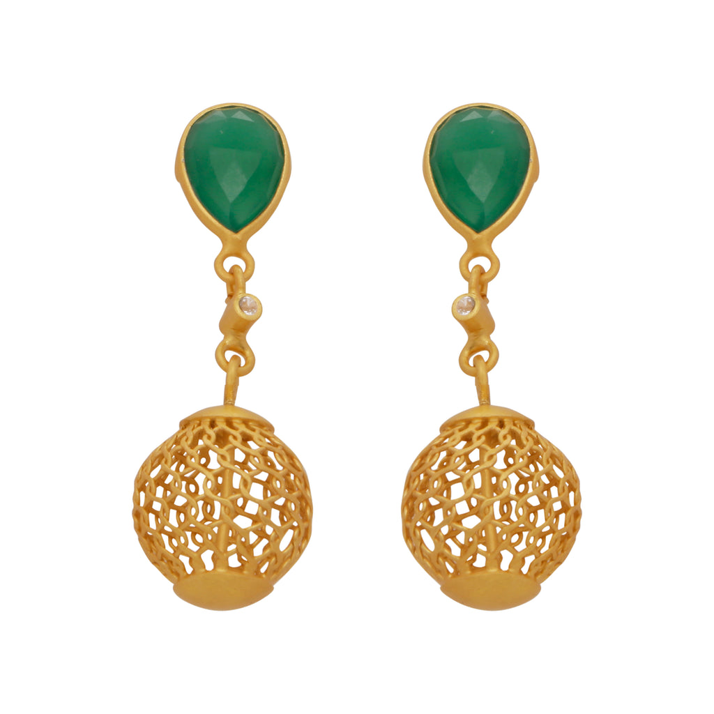 Gold cage and green onyx earrings