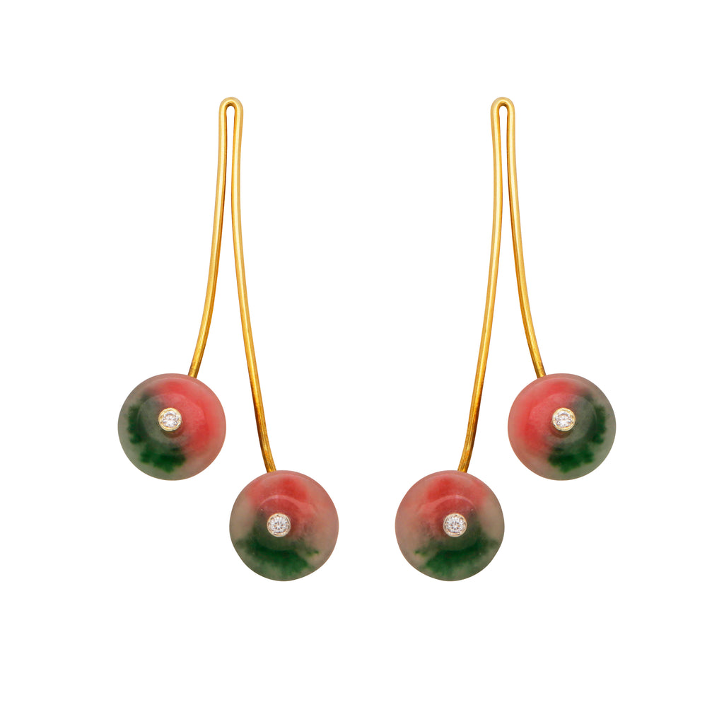 Dyed opal cherry earrings