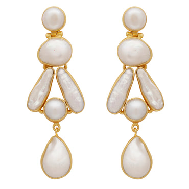 Mother of pearl gold statement earrings