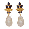Bullet and pearl lapis earrings