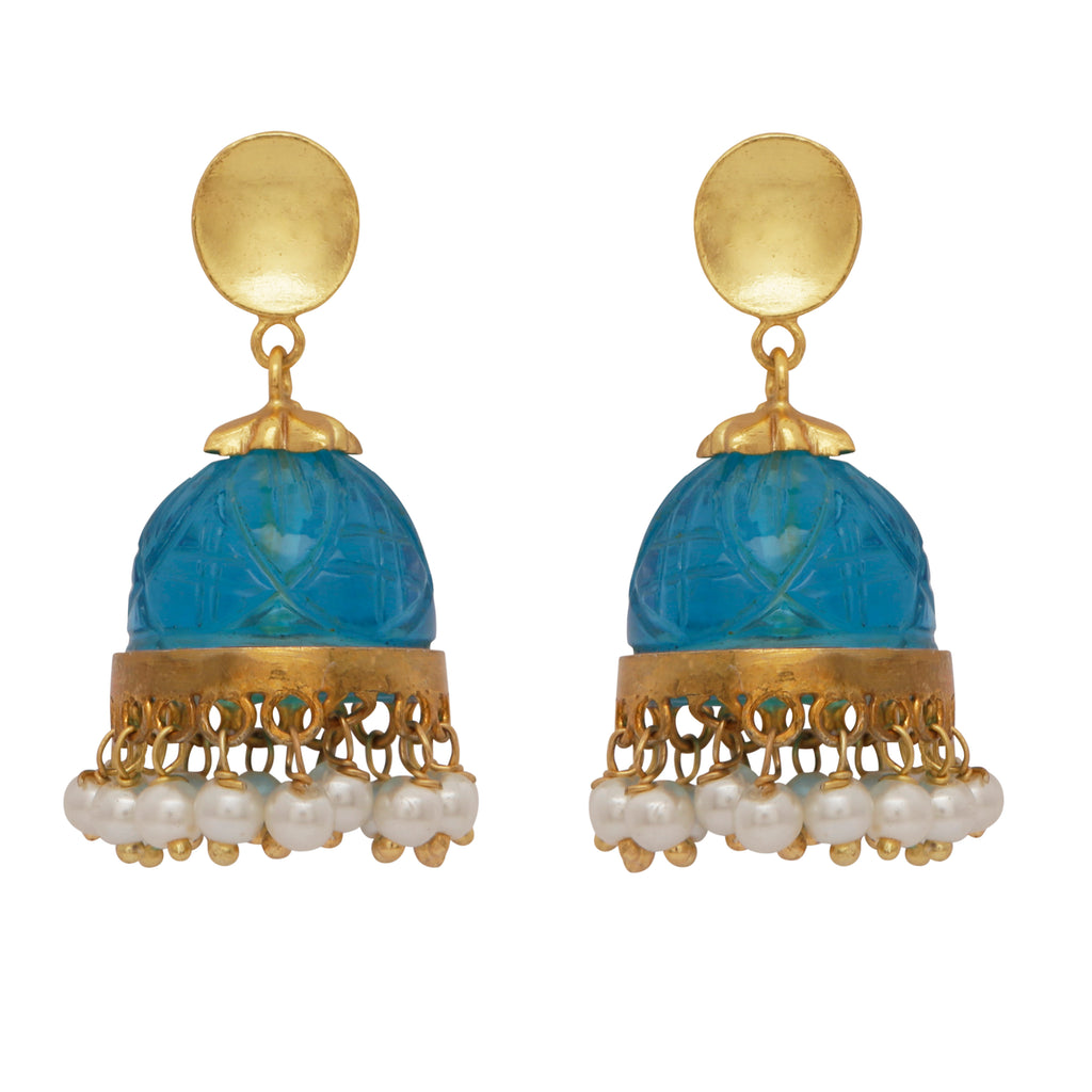 Carved blue quartz and pearl chandelier earrings