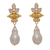 Bullet and pearl opal earrings