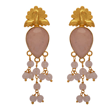 Majestic peacock earrings with rose quartz