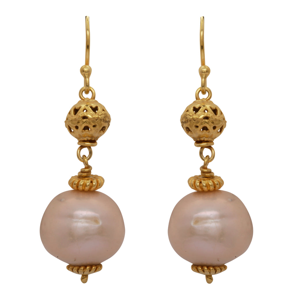 Pearl gold sphere earrings