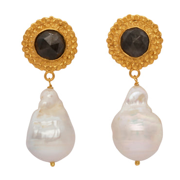 Sapphire and baroque pearl gold earrings