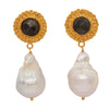 Sapphire and baroque pearl earrings
