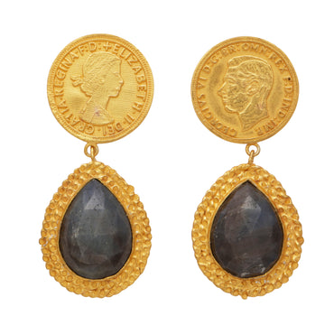 Sapphire and mismatched monarch gold earrings
