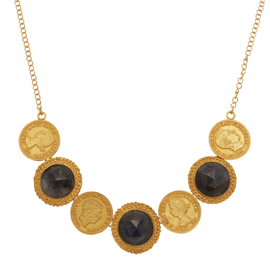 Antique style monarchs necklace with sapphires