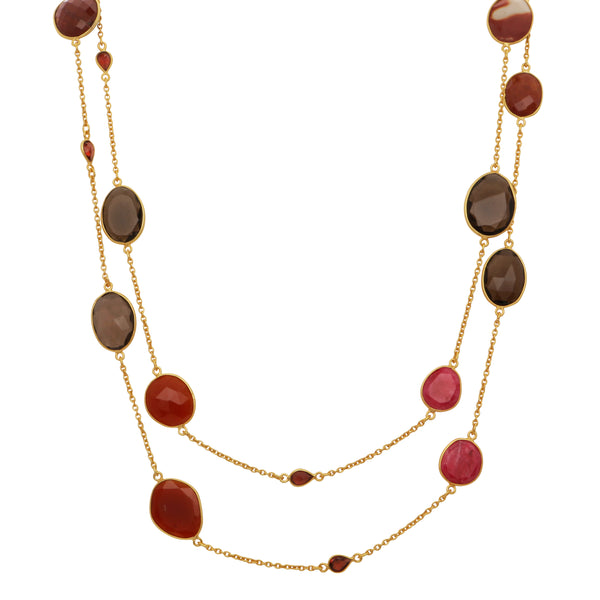 Smoky quartz, red onyx, garnet and ruby corundum necklace