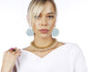 Statement pearl and turquoise earrings