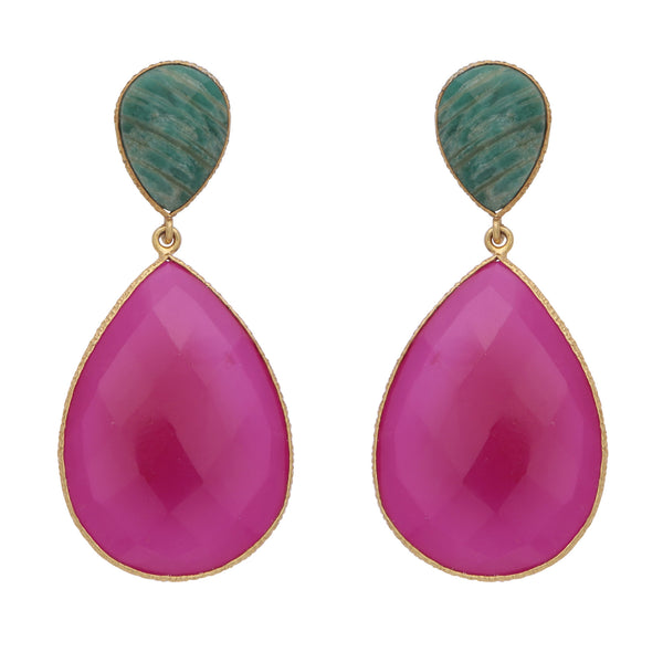 Double drop amazonite and fuchsia chalcedony earrings