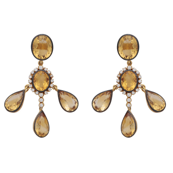 Citrine and crystal drop earrings
