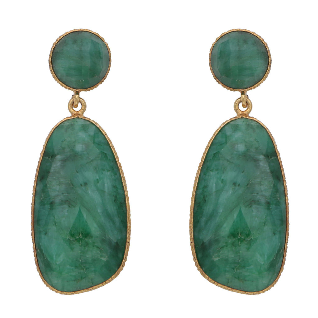 Symmetrical double drop dyed emerald earrings