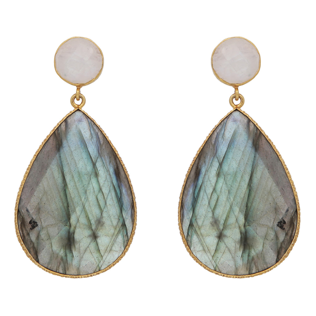 Double drop moonstone and labradorite earrings