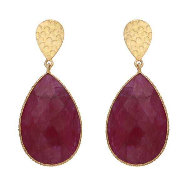 Double drop dyed ruby and golden nugget earrings