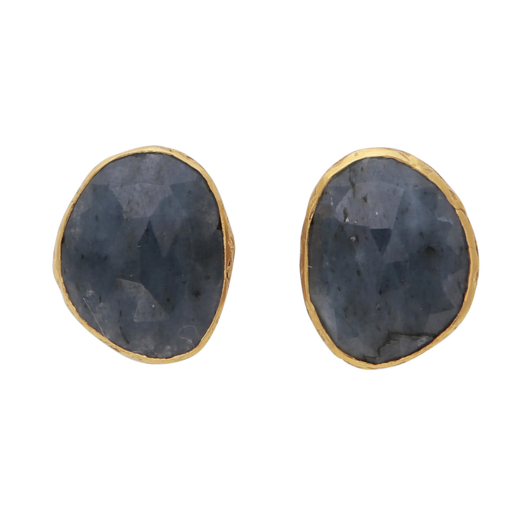 Natural sapphire studs with gold border