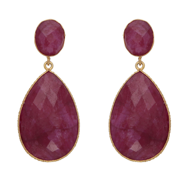 Double drop dyed ruby earrings