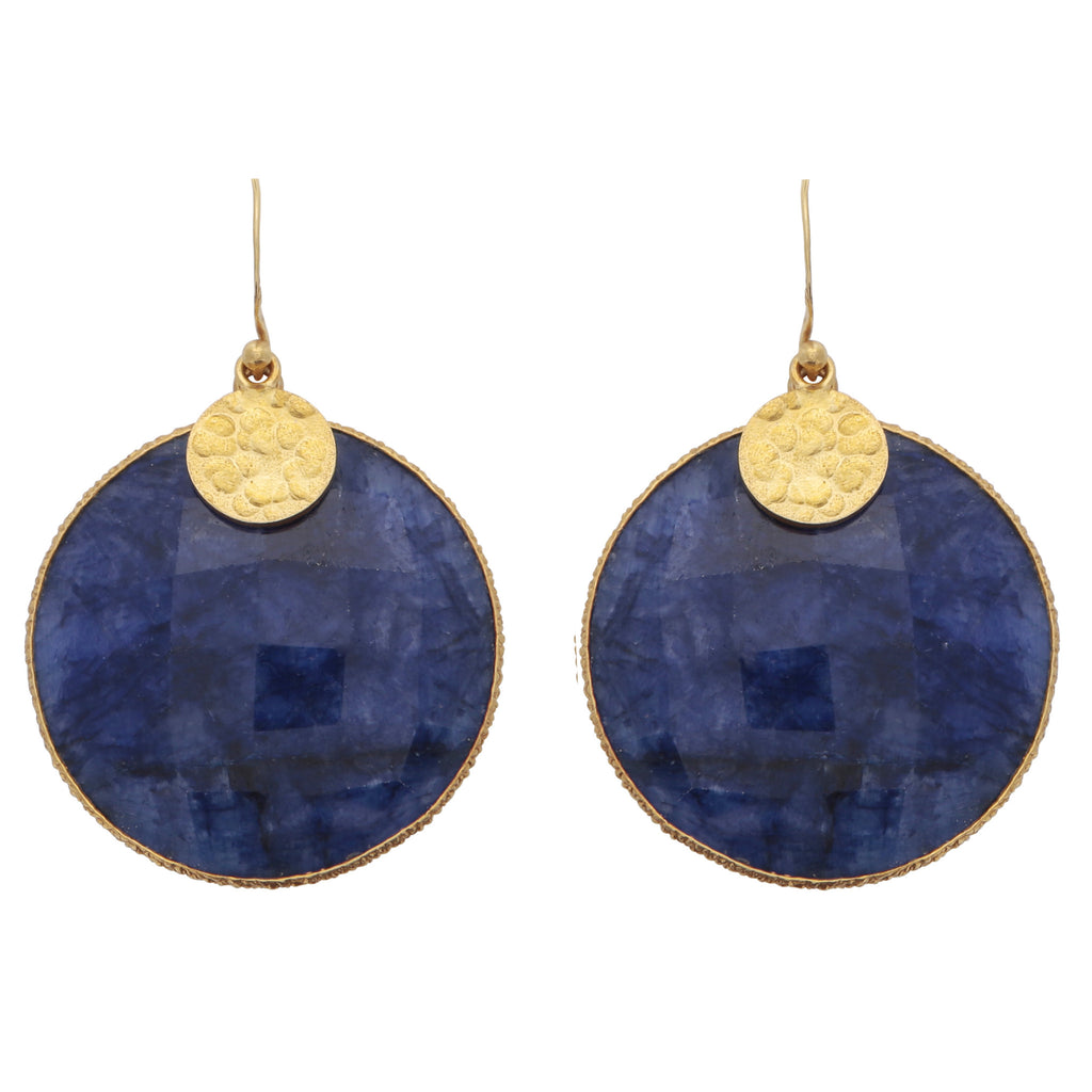 Dyed sapphire disc earrings