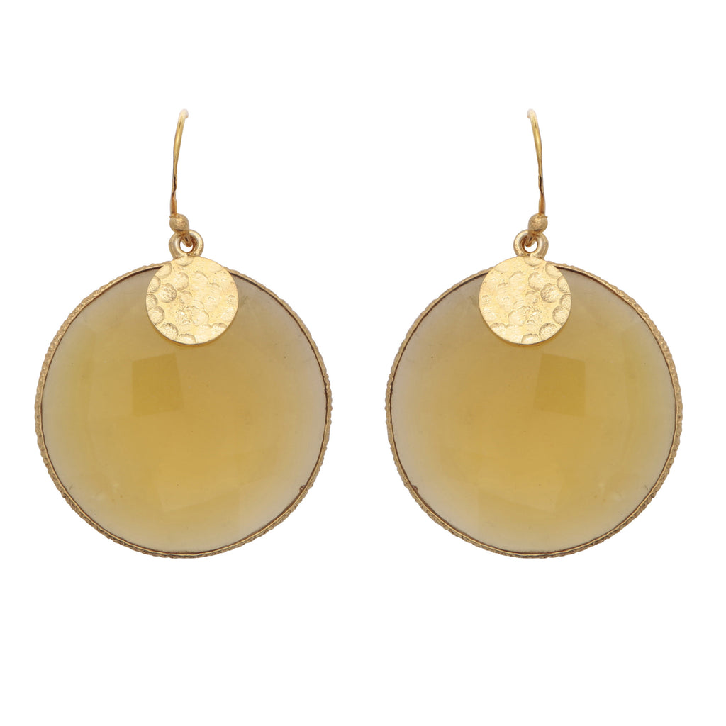 Citrine disc earrings