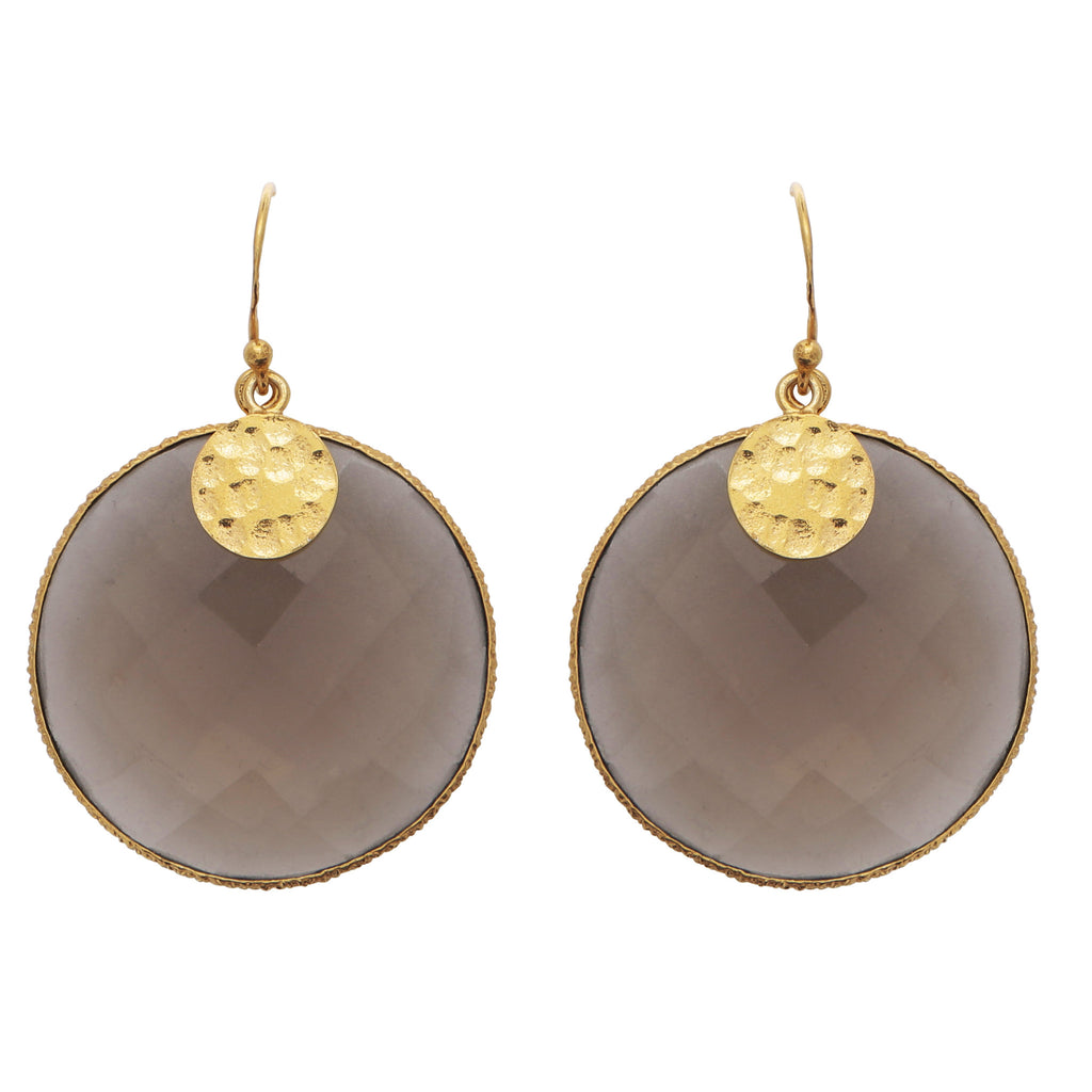 Smoky quartz disc earrings