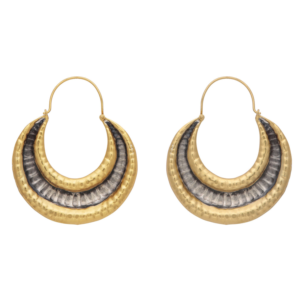 Gold and silver textured antique finish earrings