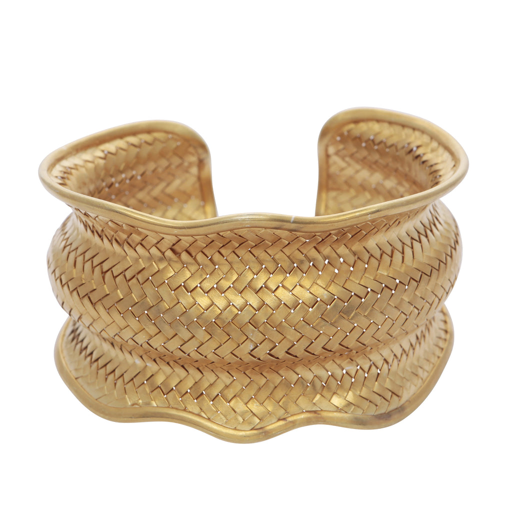 Intricate adjustable gold bangle