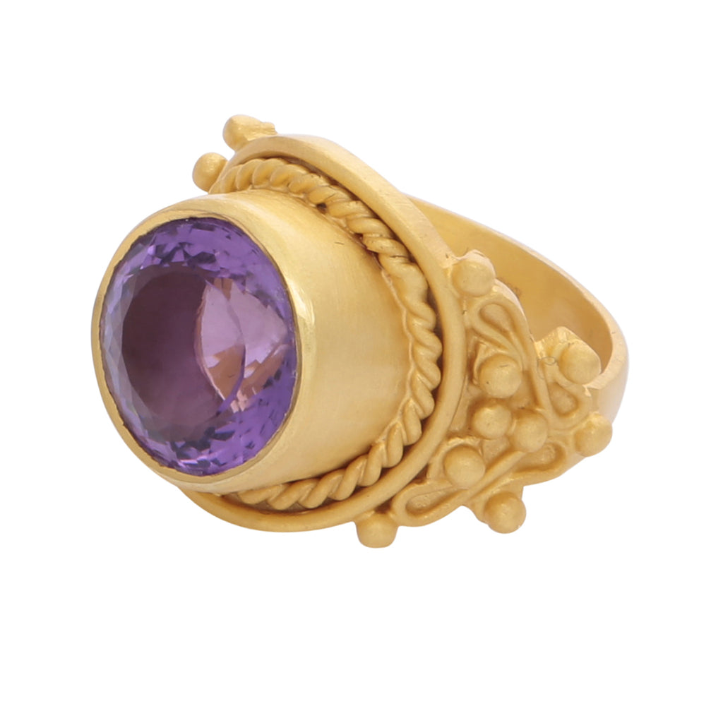 Intricate amethyst cocktail ring