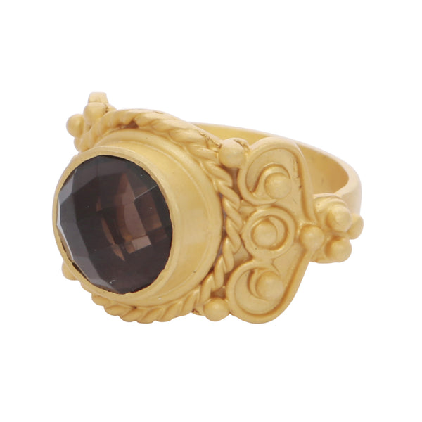 Intricate smoky quartz cocktail ring