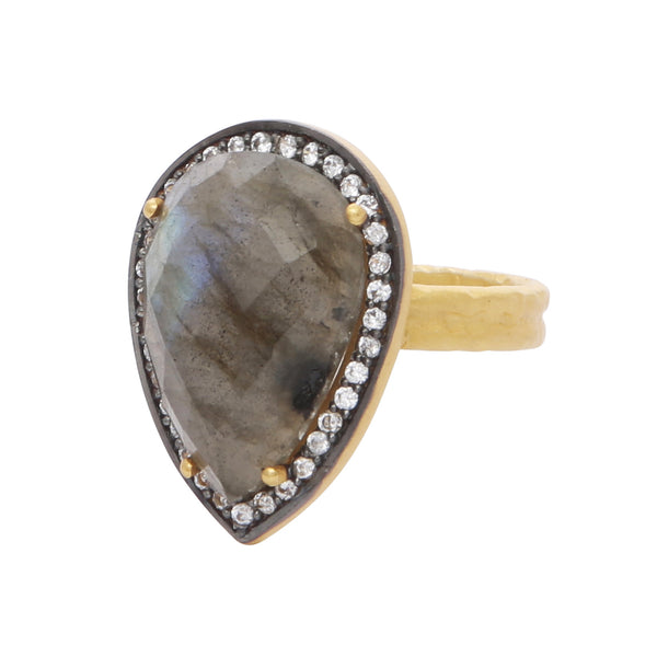 Teardrop labradorite and crystal cocktail ring