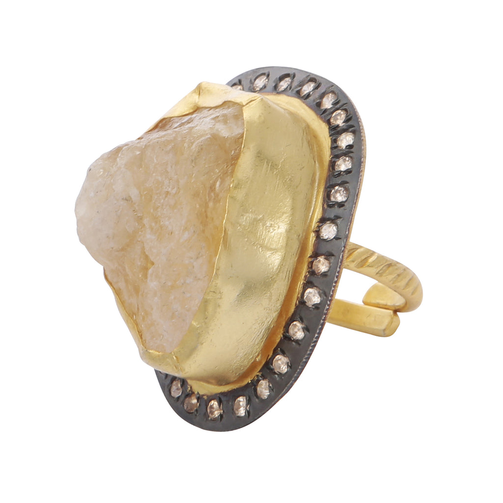 Citrine rough cut statement ring
